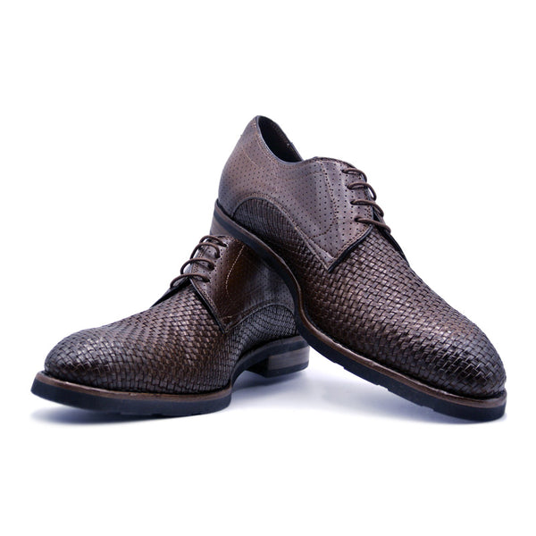 Woven Calfskin Laceup Derby