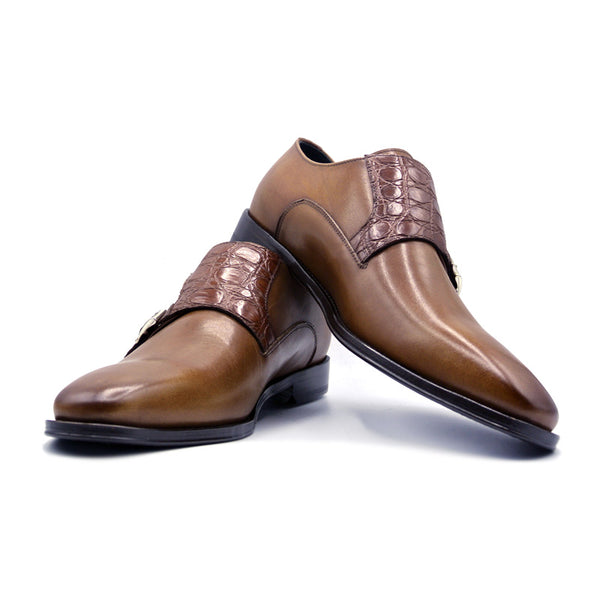 SMPL-MS-004 Calfskin & Crocodile Monkstrap