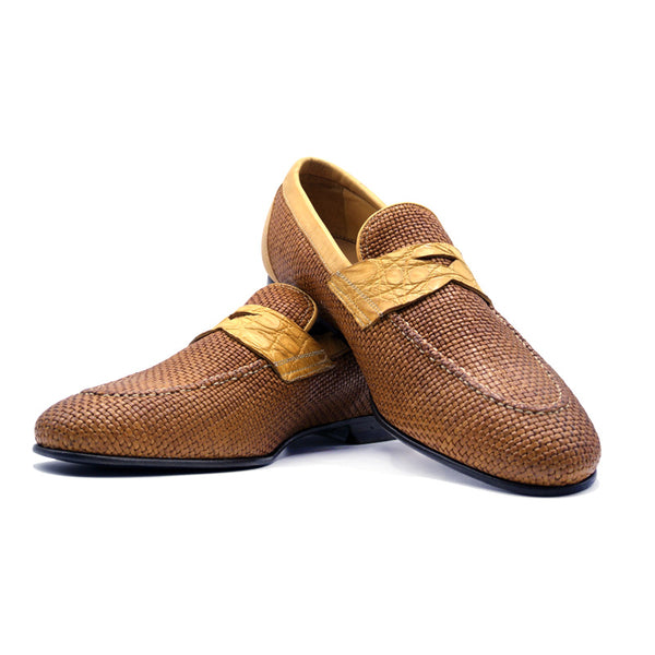 Woven Calfskin with Crocodile Penny Loafer