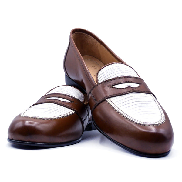 Calfskin with Lizard Penny Loafer