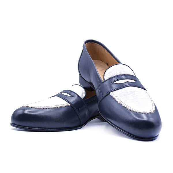 SMPL-PL-013 Calfskin with Lizard Penny Loafer