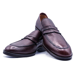 SMPL-PL-017 Pebble Grain Penny Loafer - Leather 2-Tone Sole
