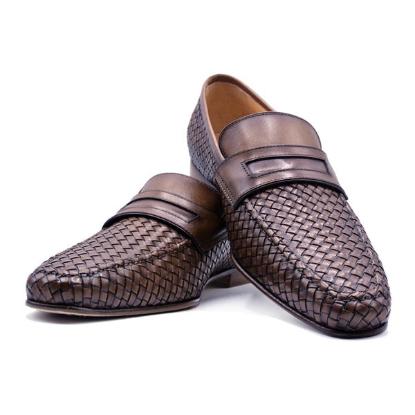 Woven Calfskin Penny Loafer