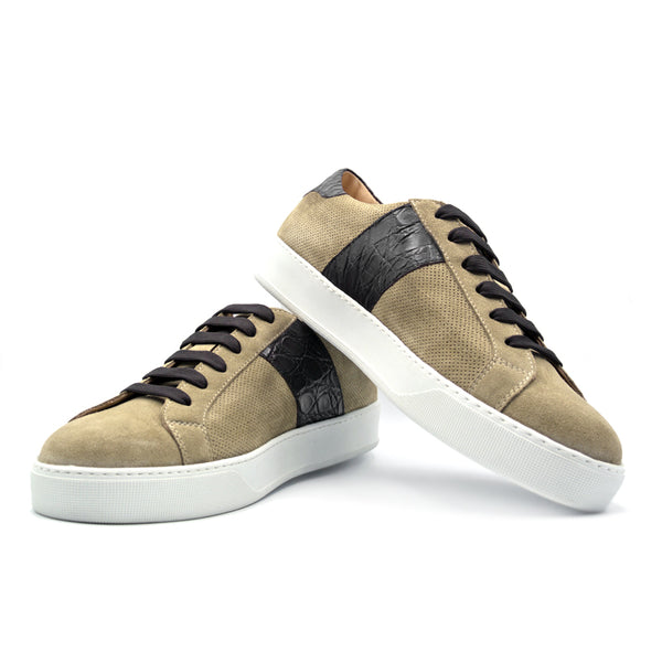 Sueded Calfskin with Crocodile Sneaker