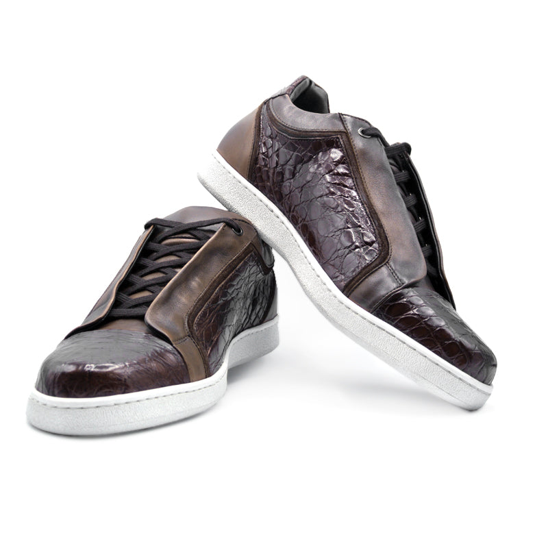 SMPL-SK-018 Crocodile with Calfskin Sneaker