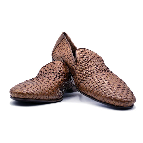 Woven Calfskin Slip On Loafer