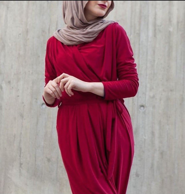 Red Draped Maxi Dress