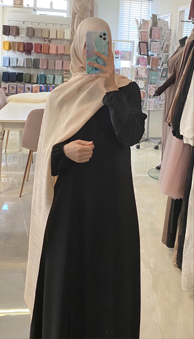 Black Budget Zipper Abaya