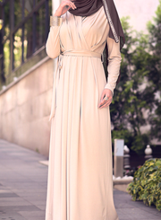 Nude Draped Maxi Dress