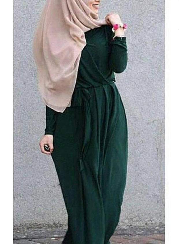 Darkgreen Draped Maxi Dress