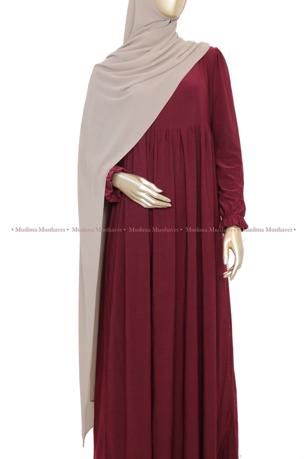 Bordeaux High Waist Abaya