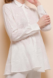 White Perforated Long Blouse