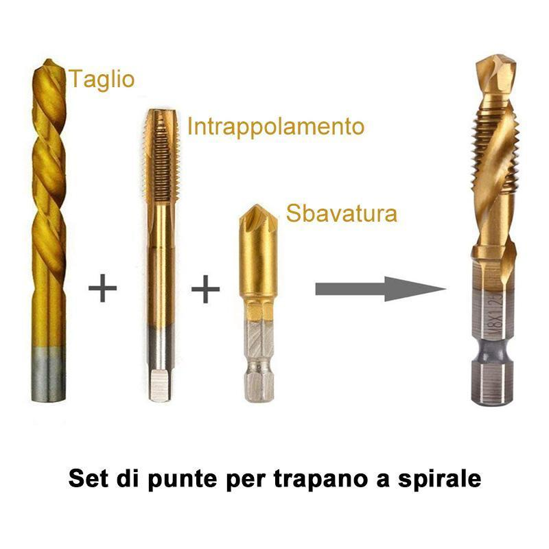 Set Di Trapani Da Tappo Filetto Metrico 6Pz