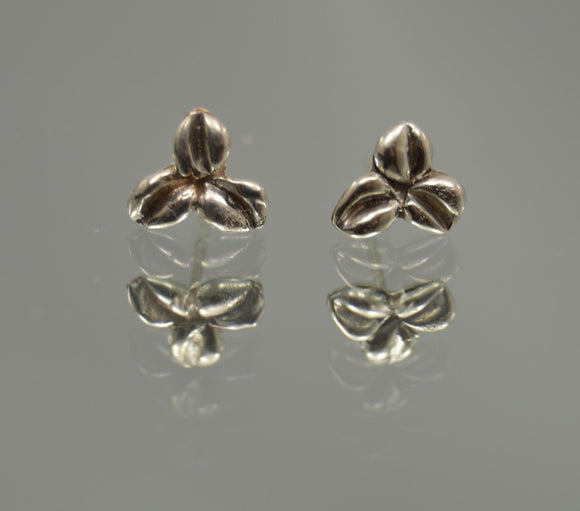 Three Leaf One of a Kind Handmade Fused Sterling Silver Flowers Pierced Earrings