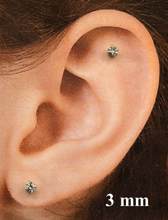 3 sizes small Round Diamond Swarovsky Crystal Prong Set Magnetic Earrings - Laura Wilson Gallery