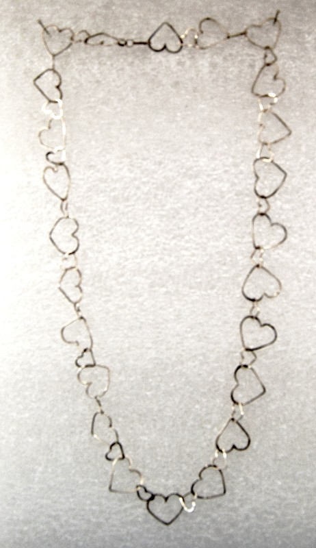 Handmade Sterling Silver Wire Large and Small Heart Link Necklace - Laura Wilson Gallery