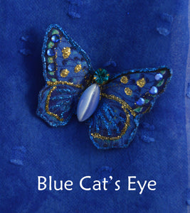 Tiny Blue Butterfly Fabric Magnetic Brooch With Cat's Eye Glass Body - Laura Wilson Gallery