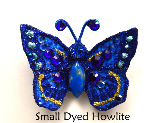 Tiny Blue Butterfly Fabric Magnetic Brooch With Dyed Howlitel  Body - Laura Wilson Gallery