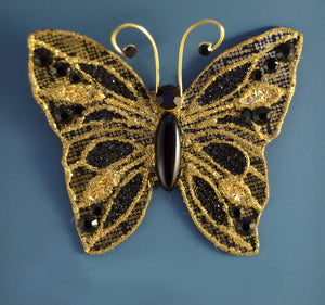 Small Gold Butterfly Fabric Magnetic Brooch With Black Onyx  Body - Laura Wilson Gallery