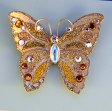 Small Gold Butterfly Fabric Magnetic Brooch With AB Czech Glass  Body - Laura Wilson Gallery