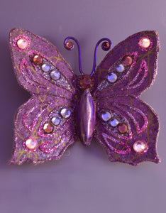 Purple Butterfly Magnetic Brooch With Pink And Purple Crystals - Laura Wilson Gallery