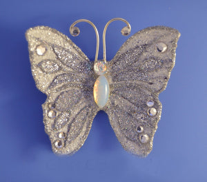Small Silver Butterfly Fabric Magnetic Brooch With Glass Opal Body - Laura Wilson Gallery