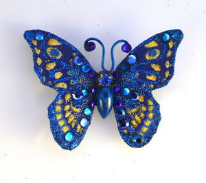 Small Blue Butterfly Fabric Magnetic Brooch With Blue Agate Body - Laura Wilson Gallery