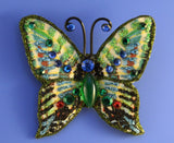 Small Green, Blue and Red  Butterfly Fabric Magnetic Brooch With Green Glass Body - Laura Wilson Gallery
