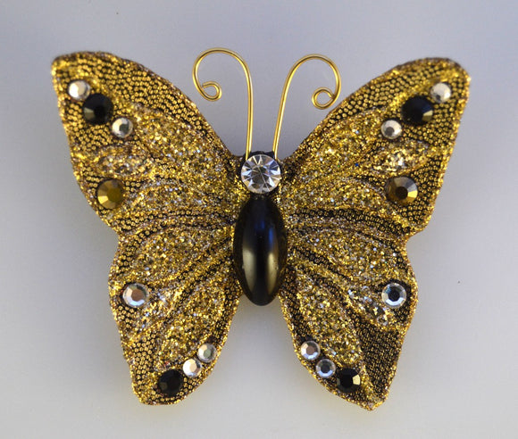 Gold and Black Lame Butterfly Fabric Magnetic Brooch With Bohemian Glass  Body - Laura Wilson Gallery
