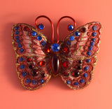 Small Red and Blue  Butterfly Fabric Magnetic Brooch With Red Glass Body - Laura Wilson Gallery