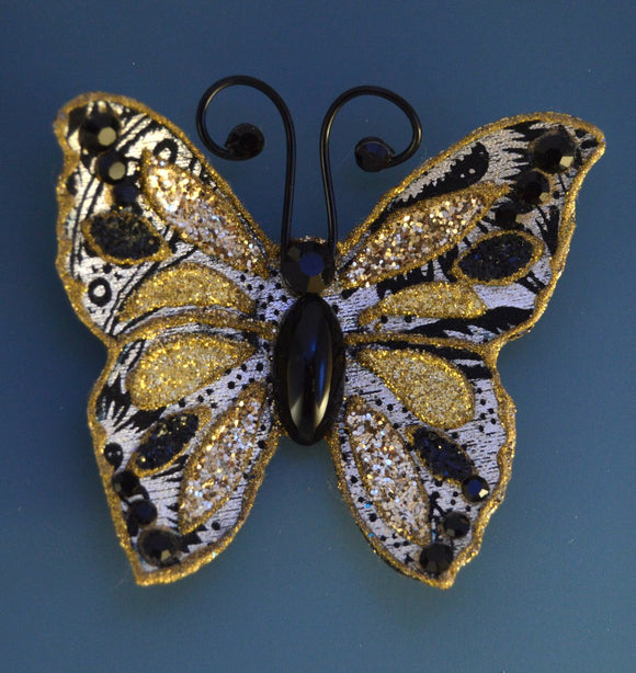 Small Silver and Gold Butterfly Magnetic Fabric Brooch With Bohemian Glass  Body - Laura Wilson Gallery