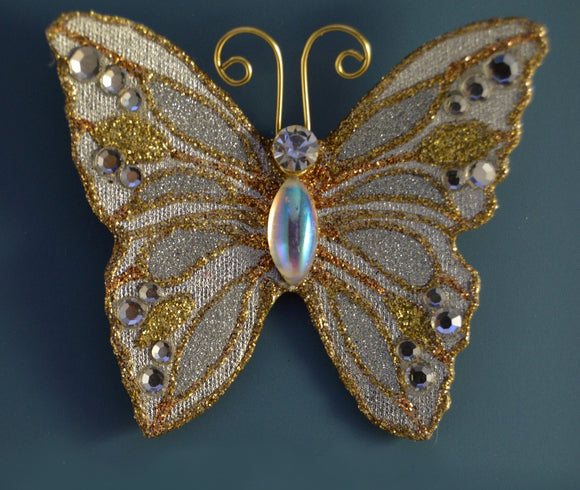 Small Silver and Gold Butterfly Magnetic Fabric Brooch With Aurora Borealis Glass  Body - Laura Wilson Gallery