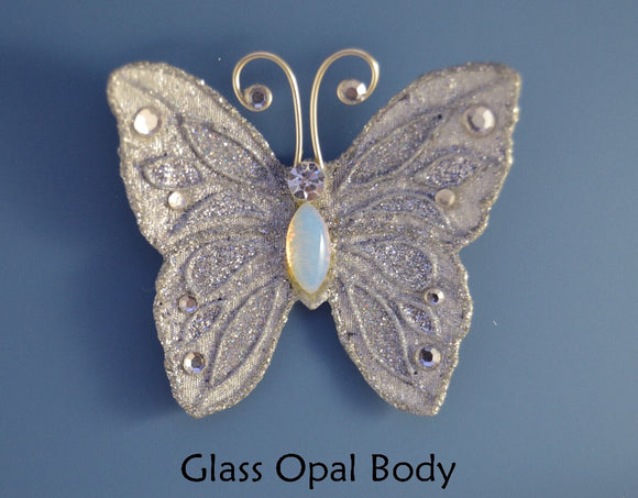 Small Silver Butterfly Magnetic Fabric Brooch With Opal Glass  Body - Laura Wilson Gallery