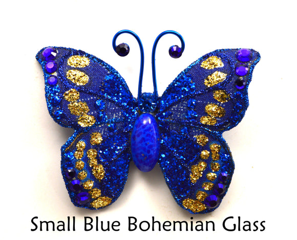 Small Blue Butterfly Fabric Magnetic Brooch With Bohemian Glass Body - Laura Wilson Gallery