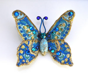 Turquoise Butterfly Fabric Magnetic Brooch With Turquoise Body - Laura Wilson Gallery