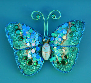 Small Turquoise Butterfly Fabric Magnetic Brooch With Turquoise Glass Body - Laura Wilson Gallery