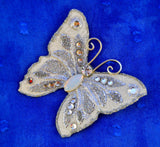 Small Silver Butterfly Magnetic White Fabric Brooch With Opal Glass  Body - Laura Wilson Gallery