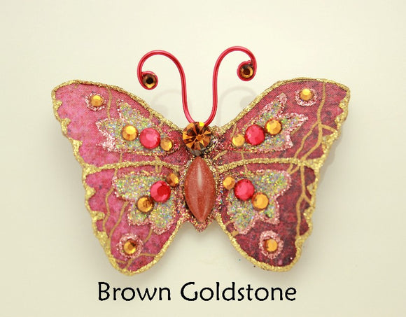 Red Brown Magnetic Butterfly Brooch With Goldstone Body - Laura Wilson Gallery