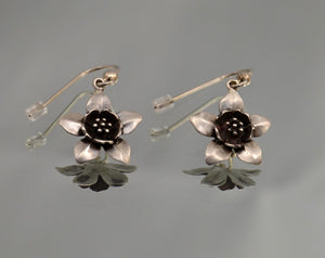 Sterling Silver Dangle Large Columbine Flower Pierced Earring - Laura Wilson Gallery