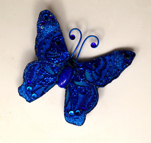 Blue Butterfly Fabric Magnetic Brooch With Bohemiam Crystal  Body - Laura Wilson Gallery