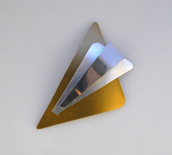 Handmade Original Design in Anodized Gold and Silver Aluminum Triangle Magnetic Brooch - Laura Wilson Gallery