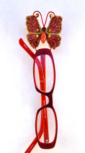 Small Red and Topaz Butterfly Fabric Magnetic Eyeglass Holder - Laura Wilson Gallery