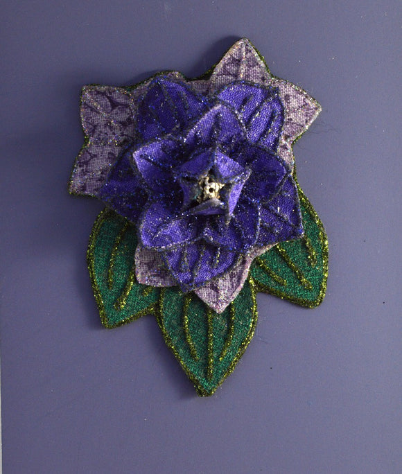 Purple Flower And  Green Leaf Magnetic Brooch - Laura Wilson Gallery