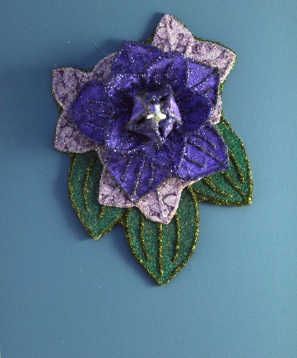 Purple Flower And  Green Leaf Magnetic Brooch with Pearl Center - Laura Wilson Gallery