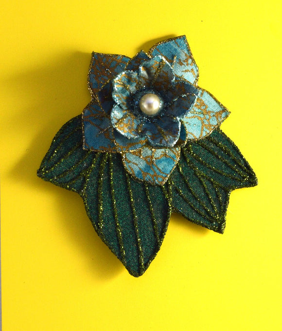 Turquoise Flower And  Green Leaf Magnetic Brooch with Pearl Center - Laura Wilson Gallery