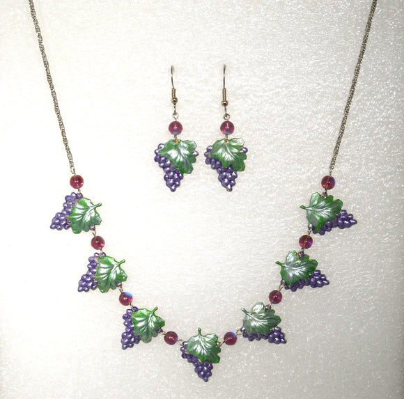 Hand Painted Grape Cluster Necklace and Pierced Earring Set - Laura Wilson Gallery