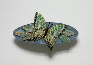 Blue, Green and Black Butterfly Barrette Hair Clip - Laura Wilson Gallery
