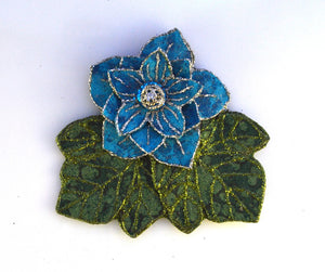 Turquoise Flower And  Green Leaf Magnetic Brooch with Silver Filigree - Laura Wilson Gallery