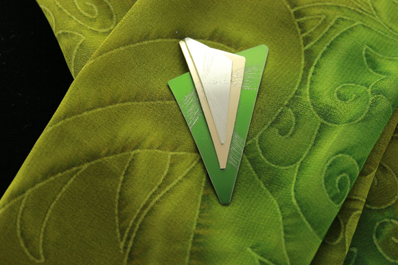 Handmade Original Design Green, Gold and Silver Aluminum Triangle Magnetic Brooch - Laura Wilson Gallery