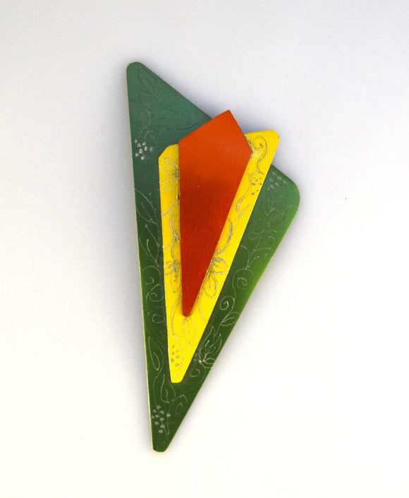Handmade Original Design Green, Yellow and Orange Aluminum Triangle Magnetic Brooch - Laura Wilson Gallery